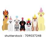 smiling dogs with party hat | Shutterstock .eps vector #709037248