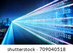 highway flyover with binary... | Shutterstock . vector #709040518