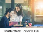 happiness emotion of asian... | Shutterstock . vector #709041118