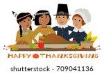 happy thanksgiving pilgrim  ... | Shutterstock .eps vector #709041136