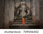 buddhas and clergy  on... | Shutterstock . vector #709046302
