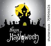 halloween vector card or... | Shutterstock .eps vector #709046626