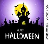 halloween vector card or... | Shutterstock .eps vector #709046722