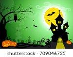halloween vector card or... | Shutterstock .eps vector #709046725
