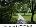 Pathway Through Green Trees At...