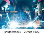 welding robots movement in a... | Shutterstock . vector #709054522