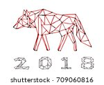 wolf polygon art hand draw... | Shutterstock .eps vector #709060816