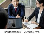 business team people discussion ... | Shutterstock . vector #709068796