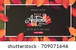 autumn calligraphy of web... | Shutterstock .eps vector #709071646