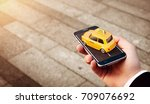 smartphone application of taxi... | Shutterstock . vector #709076692