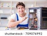 computer repairman repairing... | Shutterstock . vector #709076992