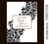 romantic invitation. wedding ...   Shutterstock . vector #709077535