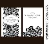 invitation with floral... | Shutterstock .eps vector #709078672