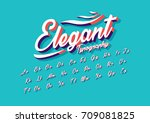 vector of stylized cursive font ... | Shutterstock .eps vector #709081825