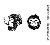 monkey face design | Shutterstock .eps vector #709083505