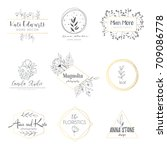 vector hand drawn set elements... | Shutterstock .eps vector #709086778