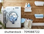 interior of a real laundry room ... | Shutterstock . vector #709088722