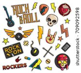 vintage 80s 90s rock and roll... | Shutterstock .eps vector #709092598