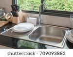 sink in kitchen room  modern... | Shutterstock . vector #709093882