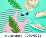 hipster girl accessories set.... | Shutterstock . vector #709095796