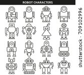robot character icons line style | Shutterstock .eps vector #709102996