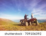 rear view of young pair near... | Shutterstock . vector #709106392