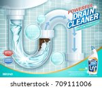 drain cleaner ads  water pipe... | Shutterstock .eps vector #709111006