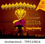 ten headed ravana wishing happy ... | Shutterstock .eps vector #709114816