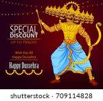 ten headed ravana wishing happy ... | Shutterstock .eps vector #709114828
