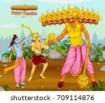 lord rama killing ravana during ... | Shutterstock .eps vector #709114876
