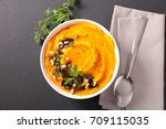 mashed potato with pumpkin | Shutterstock . vector #709115035