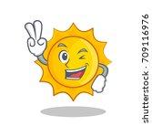 two finger cute sun character... | Shutterstock .eps vector #709116976