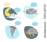 cartoon weather characters set. ... | Shutterstock .eps vector #709118722