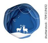 paper cut deer couple in snowy...   Shutterstock .eps vector #709119652