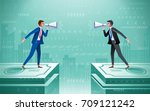 business people with speakers... | Shutterstock .eps vector #709121242