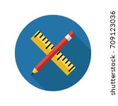 pencil and ruler icon in flat... | Shutterstock .eps vector #709123036