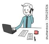 cute businessman talking on the ... | Shutterstock .eps vector #709125526