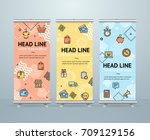 roll up banner stand design... | Shutterstock .eps vector #709129156