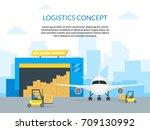 cartoon air cargo... | Shutterstock .eps vector #709130992