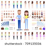 male and female characters... | Shutterstock .eps vector #709135036