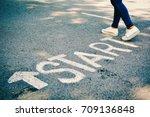 feet of women with start word... | Shutterstock . vector #709136848
