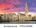 brussels  grand place in... | Shutterstock . vector #709143988