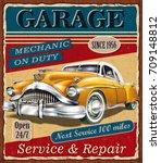 vintage garage retro poster | Shutterstock .eps vector #709148812