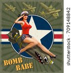 vintage poster with pin up girl ... | Shutterstock .eps vector #709148842