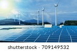Small photo of renewable energy conceptual visual. wind power plant and solar power plant.