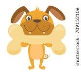 cartoon happy dog with big bone | Shutterstock .eps vector #709152106