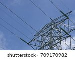 working at height high voltage...   Shutterstock . vector #709170982