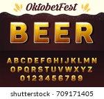 vector beer font  oktoberfest... | Shutterstock .eps vector #709171405