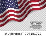 waving flag of united states of ... | Shutterstock .eps vector #709181722