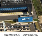 Small photo of 21 July 2017, Waalwijk, The Netherlands. Aerial view of the entrance of the new distribution center of Bol.com. A Dutch online shop, part of Ahold Delhaize.
